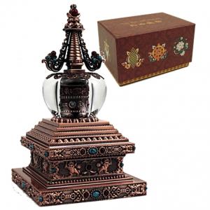 Stupa-met-solar-gebedswiel-brons-wit-metaal