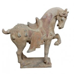 Terracotta-paard-met zadel