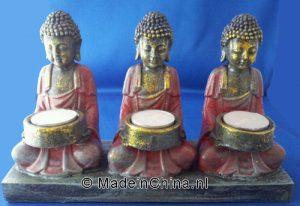 3 -boeddha's waxinehouder