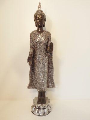 Staande Thai boeddha. Zwart-zilver. Hoogte 48 cm.