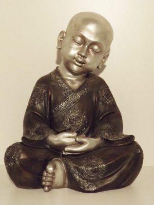 8.-Zittende-monnik-lotus.-Zwart-zilver.-Hoogte-50-cm.