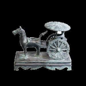 Terracotta strijder paard en wagen..