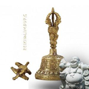 Dorje en Bel van brons 11x5 cm.