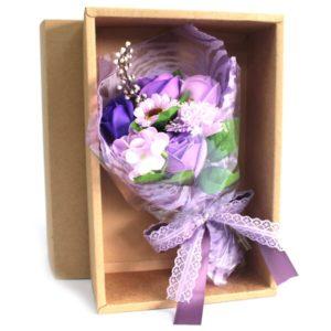 Zeep-bloemenboeket paars doos