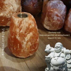 Zoutlamp rots met waxinehouder 4.1 kilo
